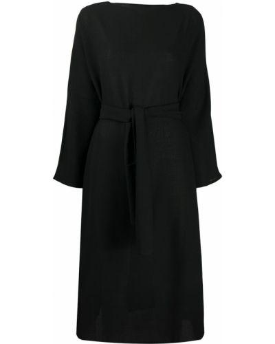 Шерстяное черное платье миди с вырезом с завязками Daniela Gregis
