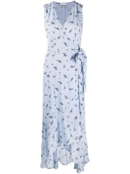 Платье с запахом с цветочным принтом Ganni
