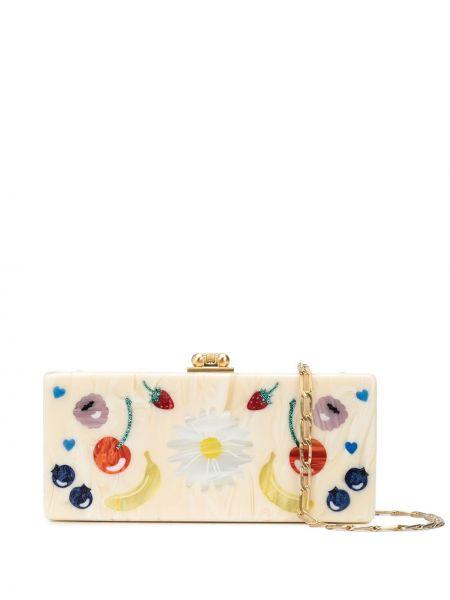 Акриловая золотистая белая сумка на плечо Edie Parker