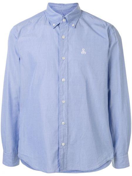 Синяя рубашка с воротником с вышивкой на пуговицах Sophnet.