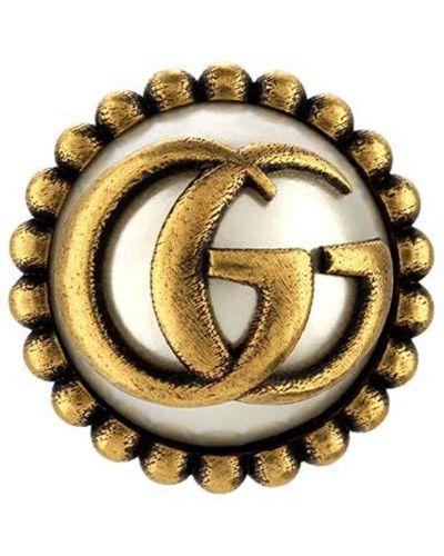 Złote kolczyki perełki Gucci