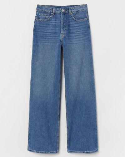 Прямые синие широкие джинсы с высокой посадкой H&m