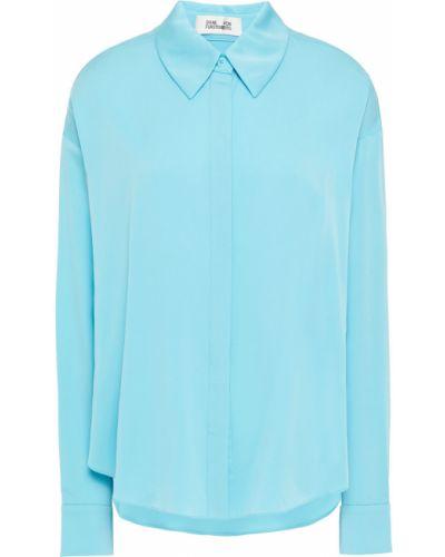 Koszula z jedwabiu turkusowa zapinane na guziki Diane Von Furstenberg