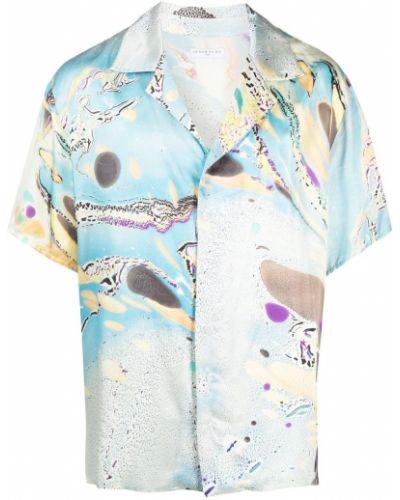 Niebieska satynowa koszula krótki rękaw Ih Nom Uh Nit