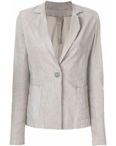 Приталенный кожаный классический пиджак с карманами Vanderwilt