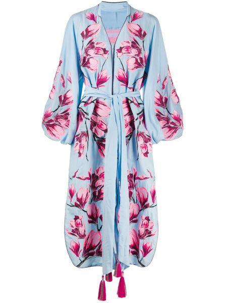 Шелковое платье миди - синее Yuliya Magdych
