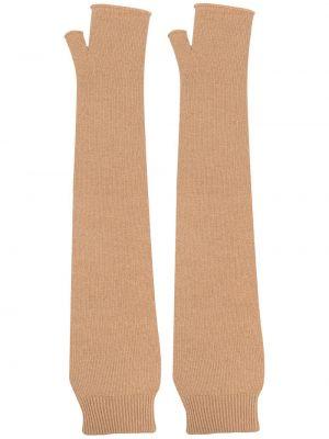 Prążkowane brązowe rękawiczki bez palców wełniane Maison Margiela