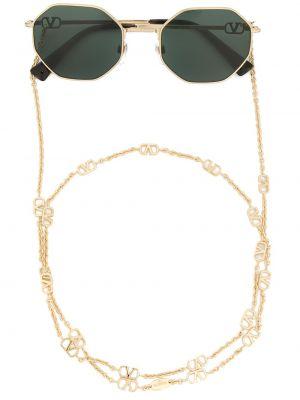 Золотистые желтые солнцезащитные очки металлические Valentino Eyewear