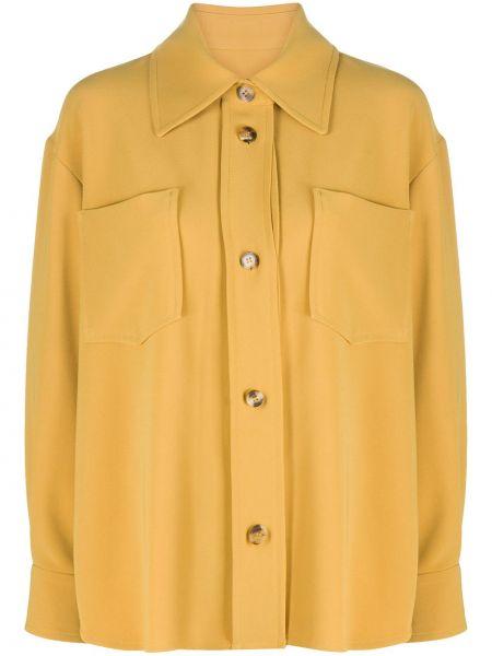 С рукавами желтая классическая рубашка с воротником на пуговицах Alberto Biani