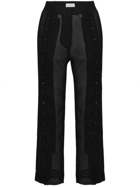 Шерстяные черные укороченные брюки прозрачные Beau Souci