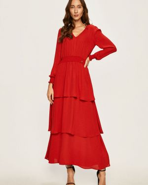 Czerwona sukienka długa rozkloszowana z falbanami Trussardi Jeans