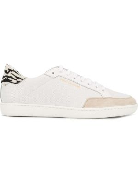 Skórzane sneakersy białe perforowany Saint Laurent