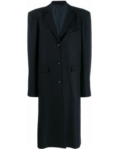 Синее шерстяное длинное пальто Vivienne Westwood Anglomania