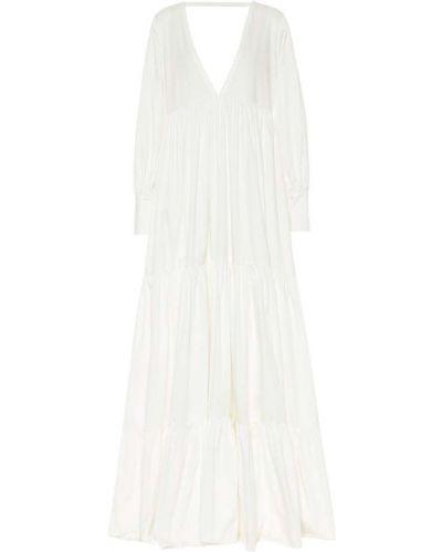 Ватное хлопковое белое платье макси Kalita