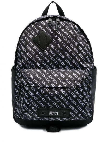 Czarny plecak z printem Versace Jeans Couture