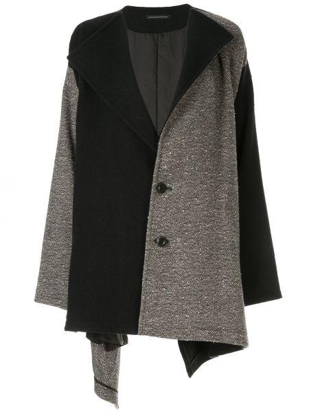 Шерстяное черное длинное пальто с капюшоном Y's