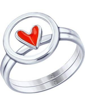 Кольцо из серебра красный Sokolov