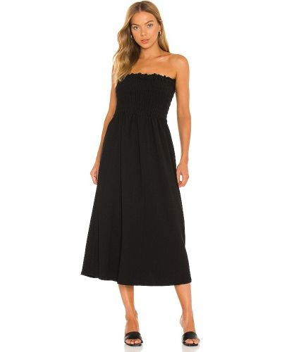 Текстильное черное платье макси с декольте 1. State
