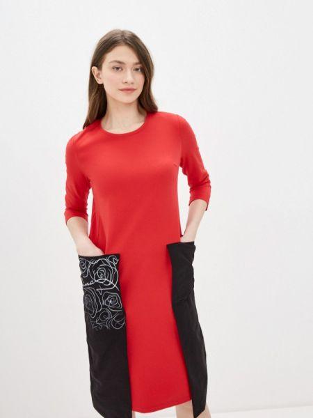 Повседневное платье красный весеннее Lina