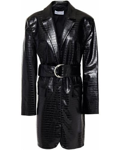 Кожаное черное платье мини с поясом Stand Studio