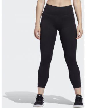 Черные спортивные леггинсы с высокой посадкой для фитнеса Adidas