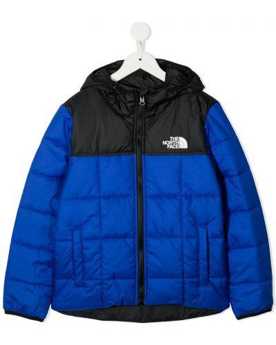 С рукавами синяя классическая куртка с капюшоном The North Face Kids