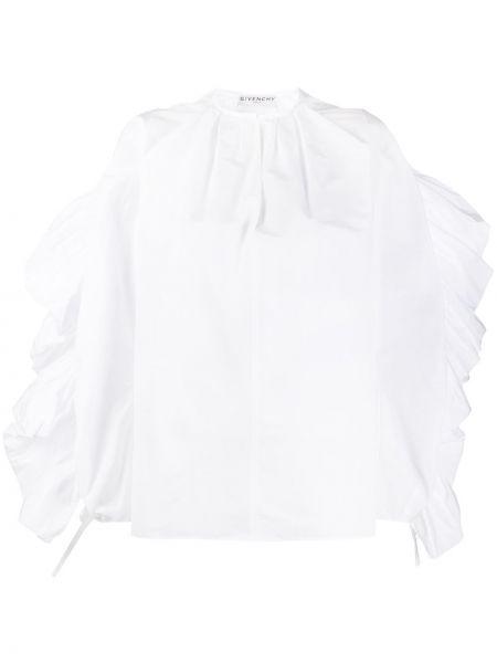 Bluzka z długim rękawem biała z falbankami Givenchy