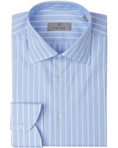 Niebieska koszula w paski w paski Canali