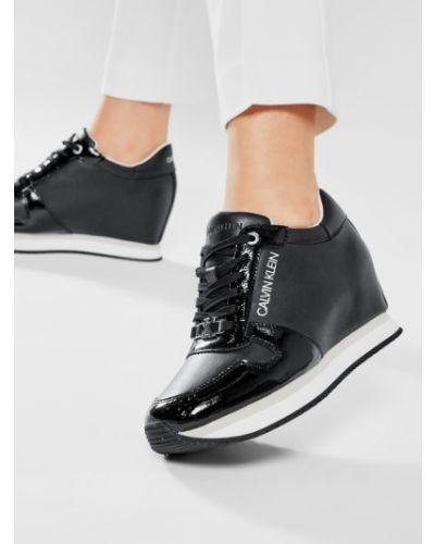 Czarne sneakersy na koturnie Calvin Klein Jeans