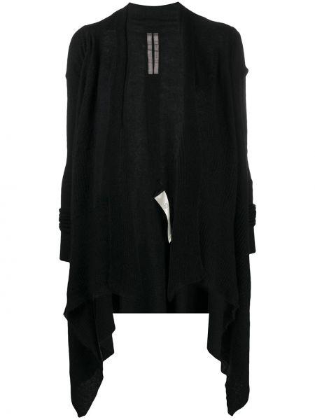 Otwarty z rękawami czarny wełniany długi płaszcz Rick Owens