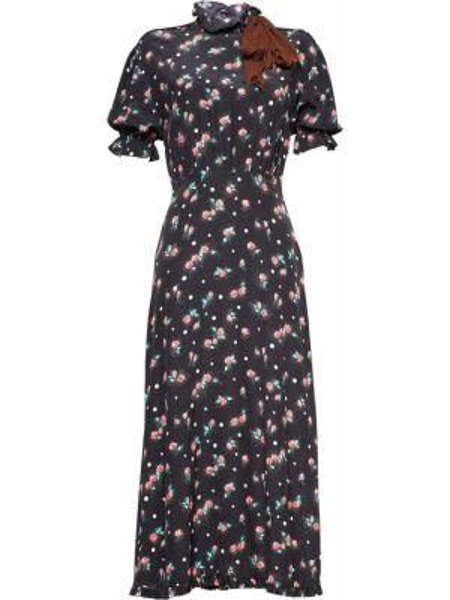 Шелковое черное платье мини с бантом с воротником Miu Miu