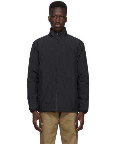 Z rękawami czarny pikowana długa kurtka z kołnierzem Norse Projects
