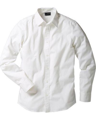 Джинсовая рубашка с длинным рукавом белый Bonprix