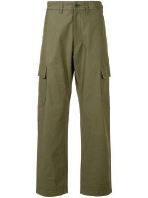 Хлопковые прямые зеленые прямые брюки на пуговицах Junya Watanabe Man