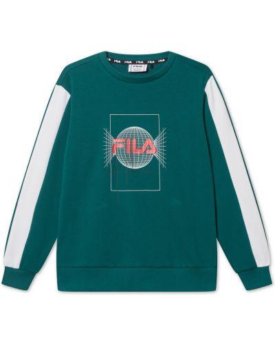 Zielona bluza długa oversize z długimi rękawami Fila