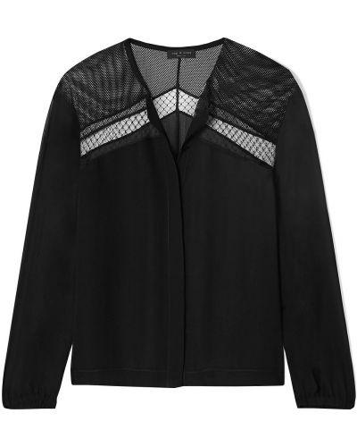 Czarna bluzka koszulowa z siateczką z jedwabiu Rag & Bone