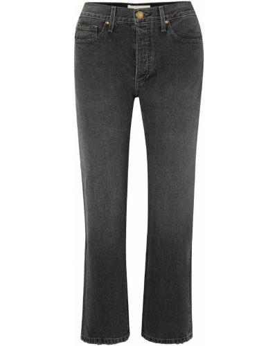 Хлопковые черные прямые укороченные джинсы The Great.