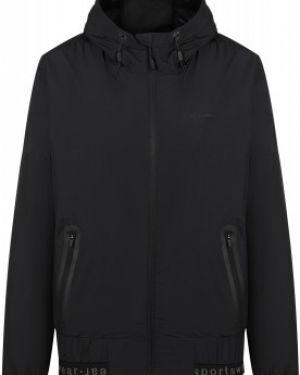 Приталенная черная куртка с капюшоном на молнии с карманами Demix