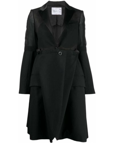 Шерстяной черный удлиненный пиджак на пуговицах Sacai