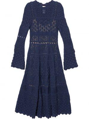 С рукавами синее платье миди с вырезом Carolina Herrera