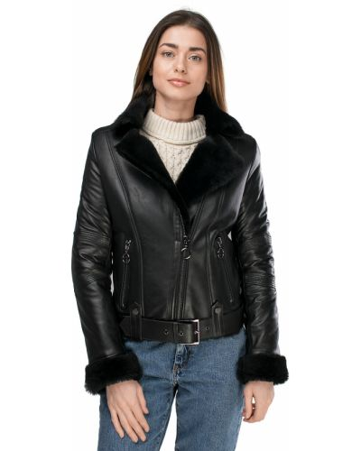 Куртка-пилот из овчины - черная Rozetka