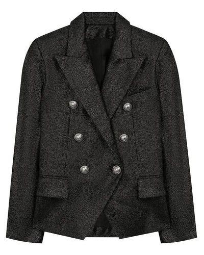 Серебряный шерстяной пиджак с подкладкой Balmain