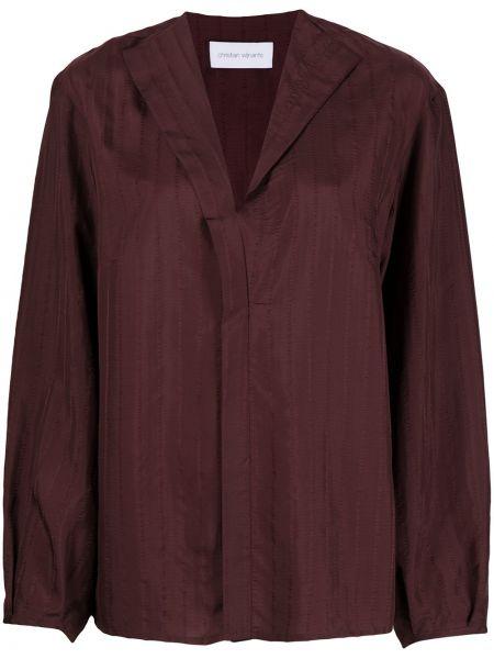 Бордовая прямая блузка с открытыми плечами с V-образным вырезом с воротником Christian Wijnants