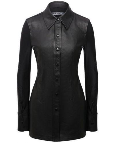 Кожаная блузка - черная Alexander Wang