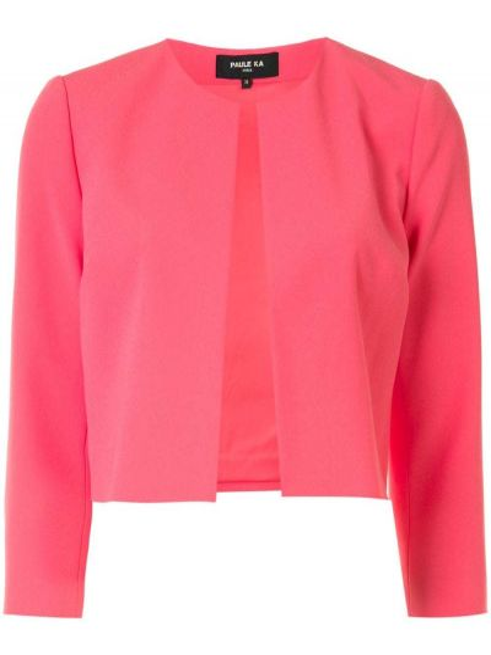 С рукавами розовый пиджак с вырезом круглый Paule Ka