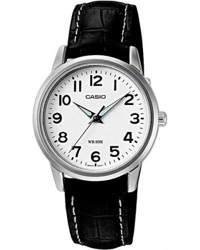 Часы на кожаном ремешке кварцевые водонепроницаемые с люминесцентными стрелками Casio