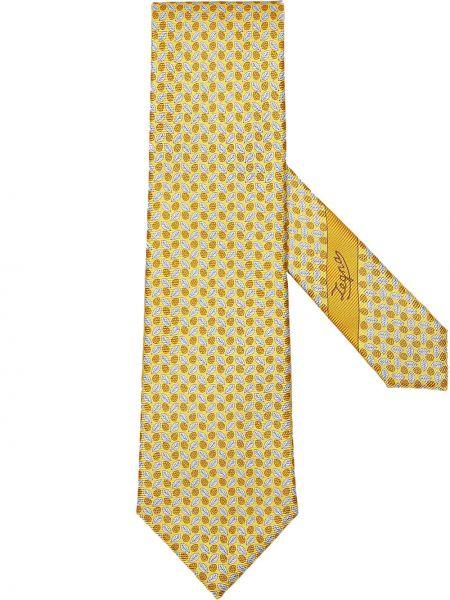 Krawat z printem - biały Ermenegildo Zegna