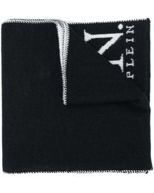 Вязаный черный шерстяной шарф Philipp Plein