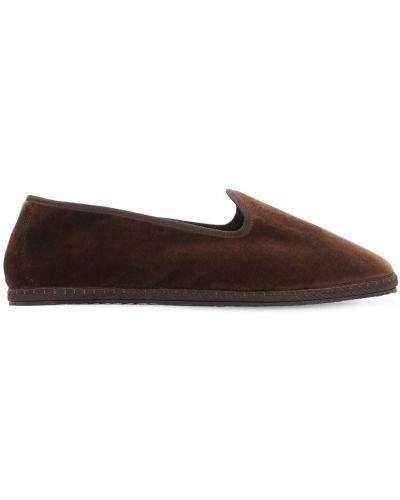 Brązowe loafers z aksamitu Vibi Venezia