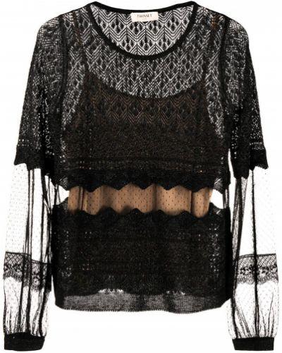 С рукавами шерстяная черная блузка с длинным рукавом с вырезом Twin-set